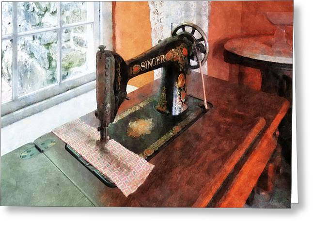 Tailor Greeting Cards - Sewing Machine Near Lace Curtain Greeting Card by Susan Savad