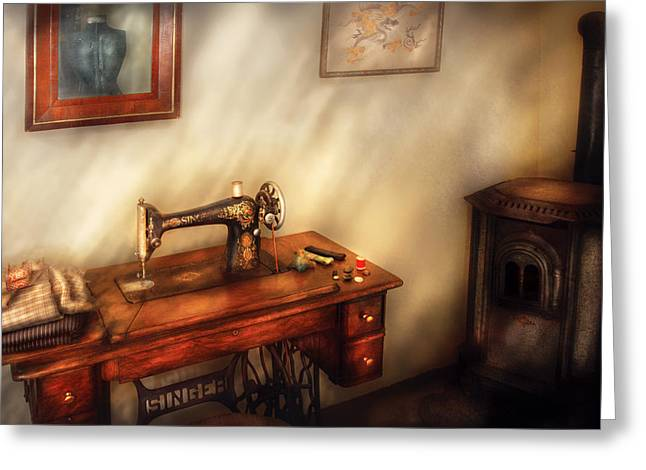 Custom Mirror Greeting Cards - Sewing Machine - Sewing in a cozy room  Greeting Card by Mike Savad