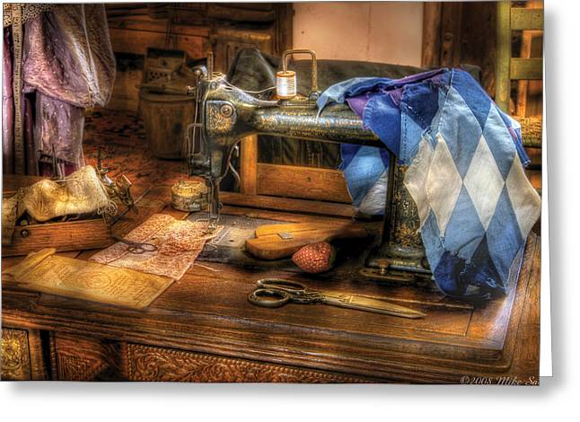 Scissors Greeting Cards - Sewing Machine  - Sewing Machine III Greeting Card by Mike Savad