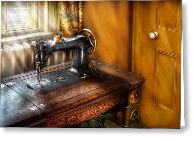 Sewing Rooms Greeting Cards - Sewing Machine  - The Sewing Machine  Greeting Card by Mike Savad