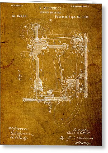 Sewing Machine Vintage Patent On Worn Canvas Greeting Card by Design Turnpike