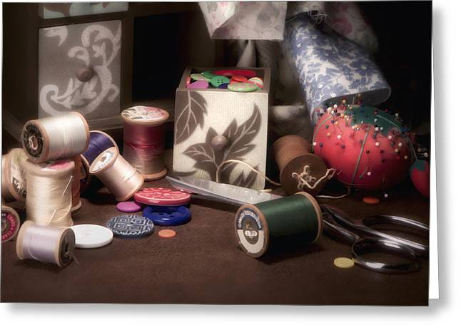 Tailor Greeting Cards - Sewing Notions II Greeting Card by Tom Mc Nemar