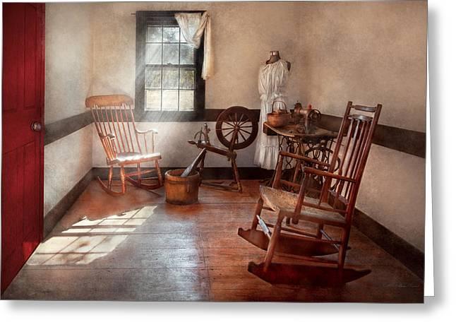 Sewing - Room - Grandma's sewing room Greeting Card by Mike Savad