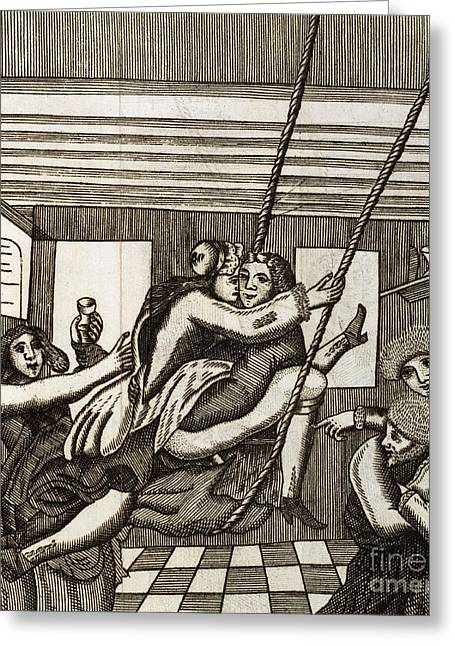 1690 Greeting Cards - Sex Swing, 17th Century Artwork Greeting Card by British Library