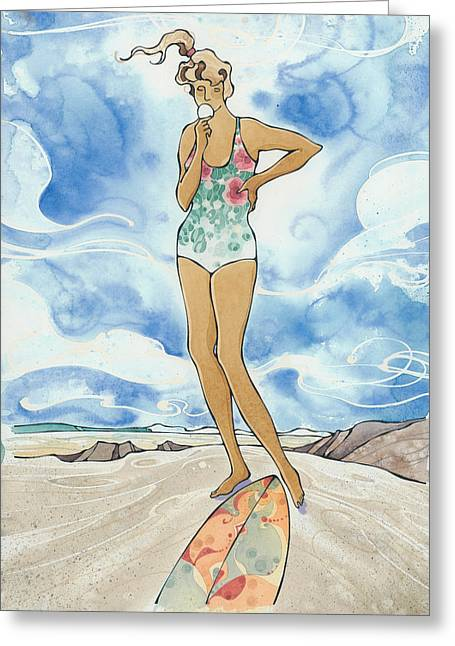 Surfing Art Greeting Cards - Sex Wax Greeting Card by Harry Holiday