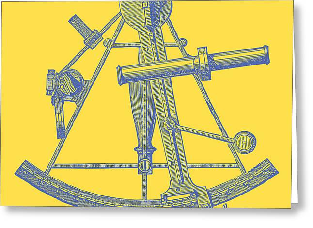 Sailing Ship Greeting Cards - Sextant Yellow Greeting Card by Ticky Kennedy LLC