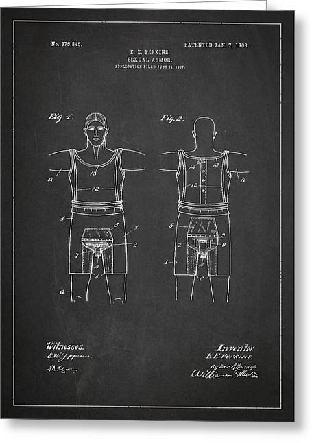 Intercourse Greeting Cards - Sexual Armor Patent Drawing From 1908 Greeting Card by Aged Pixel