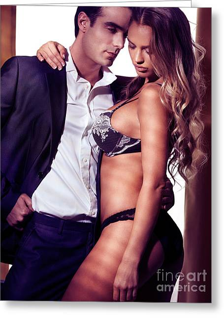 Sexy Couple Greeting Cards - Sexy couple portrait woman in lingerie and man in suit Greeting Card by Oleksiy Maksymenko