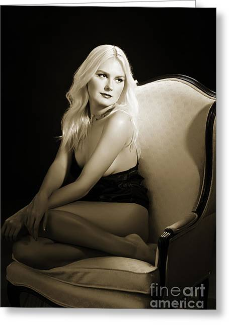 Nude Female Greeting Cards - Sexy Fine Art Blond Girl in Chair 1285.01 Greeting Card by Kendree Miller