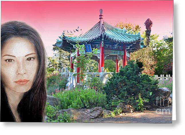 San Francisco Bay Greeting Cards - Sexy Freckle Faced Beauty Lucy Liu Altered Version II Greeting Card by Jim Fitzpatrick