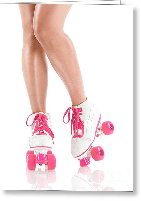 Roller Derby Greeting Cards - Sexy girl legs in white pink roller skates Greeting Card by Oleksiy Maksymenko