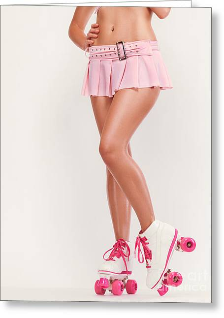 Roller Skates Greeting Cards - Sexy Girl Wearing Pink Roller Skates Greeting Card by Oleksiy Maksymenko