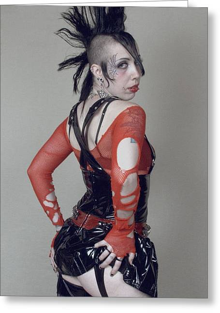 Photography By Govan. Vertical Format Greeting Cards - Sexy Goth Woman Greeting Card by Andrew Govan Dantzler