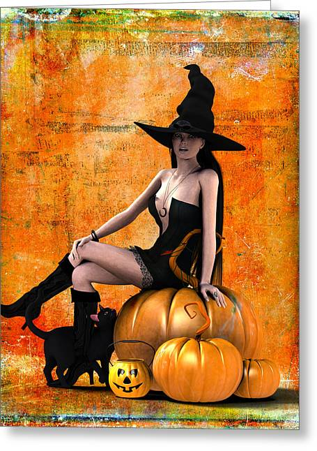 Sexy Halloween Greeting Card by Frederico Borges