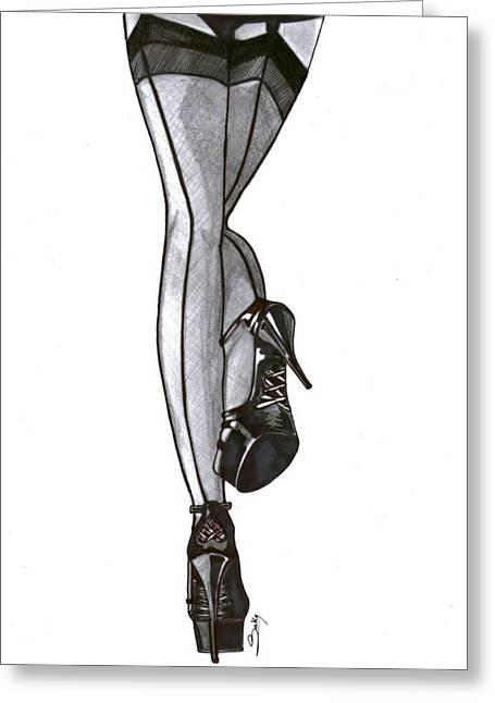 Saki Art Greeting Cards - Sexy Legs Greeting Card by Saki Art