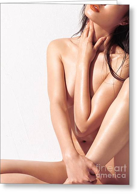 Sexy Nude Asian Woman With Shiny Skin Greeting Card by Oleksiy Maksymenko