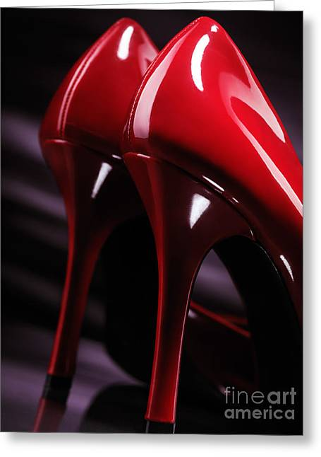 Indoor Still Life Greeting Cards - Sexy red high heel shoes closeup Greeting Card by Oleksiy Maksymenko