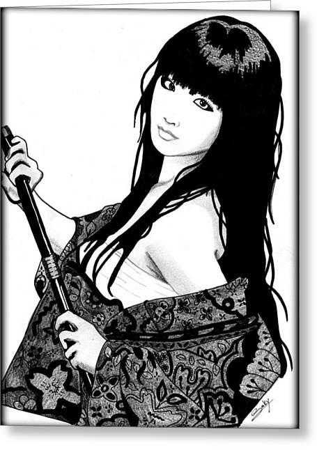 Saki Art Greeting Cards - Sexy Samurai Greeting Card by Saki Art
