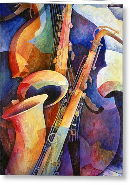 Artwork Greeting Cards - Sexy Sax Greeting Card by Susanne Clark