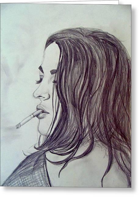 Eyelash Drawings Greeting Cards - Sexy Smoker Greeting Card by Kirsten Logerquist