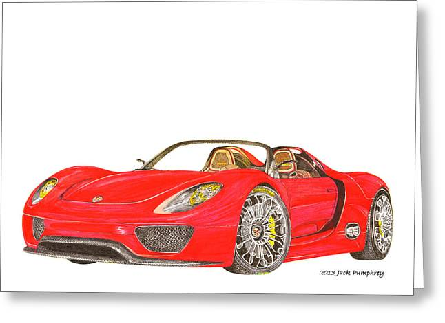 Brakes Drawings Greeting Cards - Sexy Spyder Porsche 918 Greeting Card by Jack Pumphrey