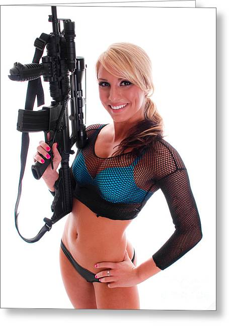 Hot Gun Greeting Cards - Sexy Woman Holding an AR15 Greeting Card by Jt PhotoDesign