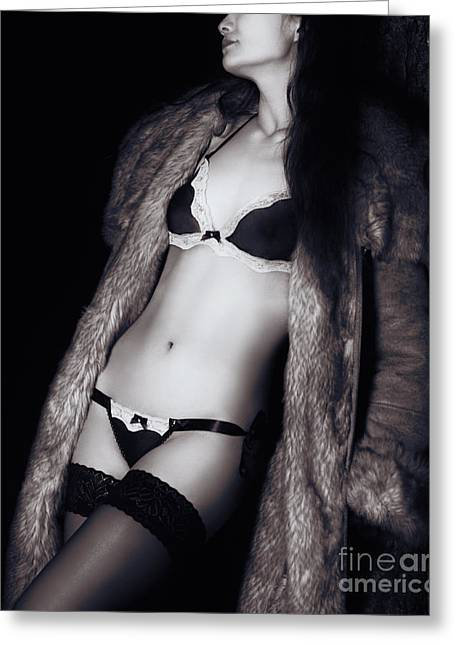 Half Naked Greeting Cards - Sexy woman in underwear and fur coat outdoors Greeting Card by Oleksiy Maksymenko