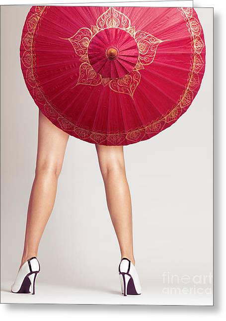 Low Heeled Shoes Greeting Cards - Sexy woman legs behind red Chinese umbrella Greeting Card by Oleksiy Maksymenko