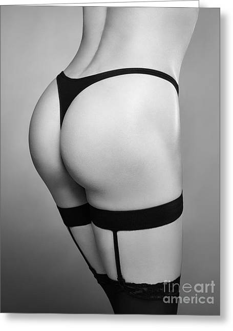 Suspenders Greeting Cards - Sexy woman wearing stockings with suspenders closeup Black and w Greeting Card by Oleksiy Maksymenko