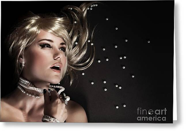 Jewellery Greeting Cards - Sexy woman with torn beads Greeting Card by Anna Omelchenko
