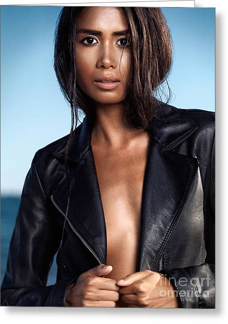 Mix Races Greeting Cards - Sexy young woman in black leather jacket on shiny bare skin Greeting Card by Oleksiy Maksymenko
