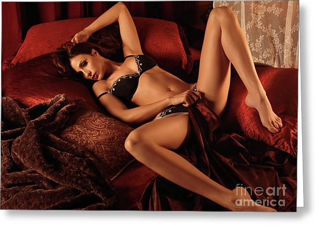 Erotism Greeting Cards - Sexy Young Woman Lying in Bed Greeting Card by Oleksiy Maksymenko