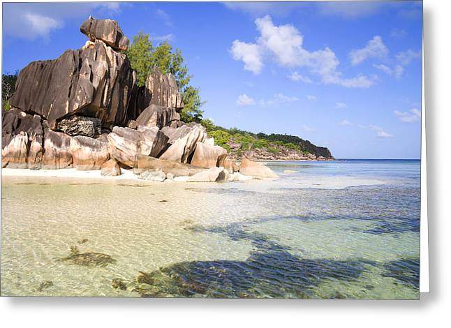 Tropical Island Greeting Cards - Seychelles Rocks Greeting Card by Alexey Stiop