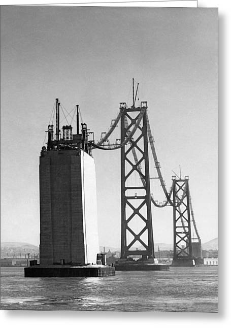 Sf Bay Bridge Construction Greeting Card by Charles Hiller