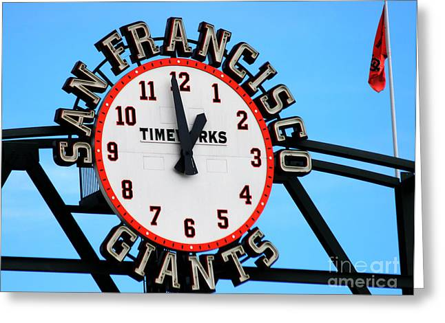 Tap On Photo Greeting Cards - San Francisco Giants Baseball Time Sign Greeting Card by Tap  On Photo