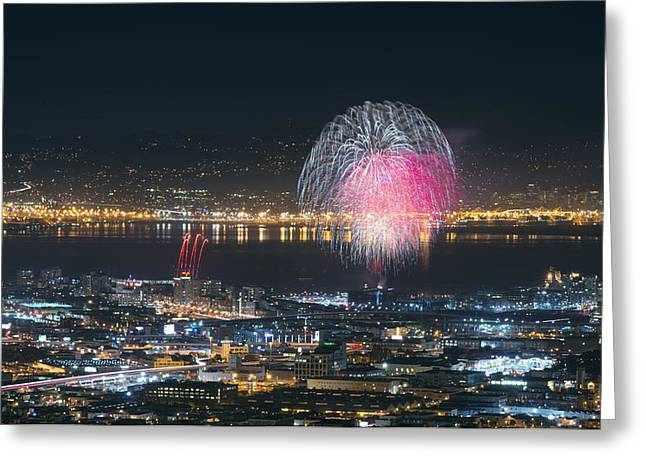Sf Giants Greeting Cards - SF Giants Post-Game Fireworks Show Greeting Card by David Yu