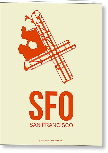 Plane Greeting Cards - SFO San Francisco Airport Poster 1 Greeting Card by Naxart Studio