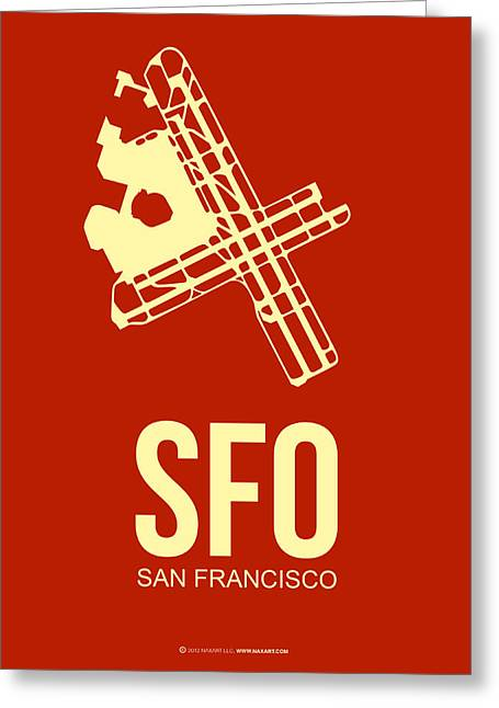 Plane Greeting Cards - SFO San Francisco Airport Poster 2 Greeting Card by Naxart Studio
