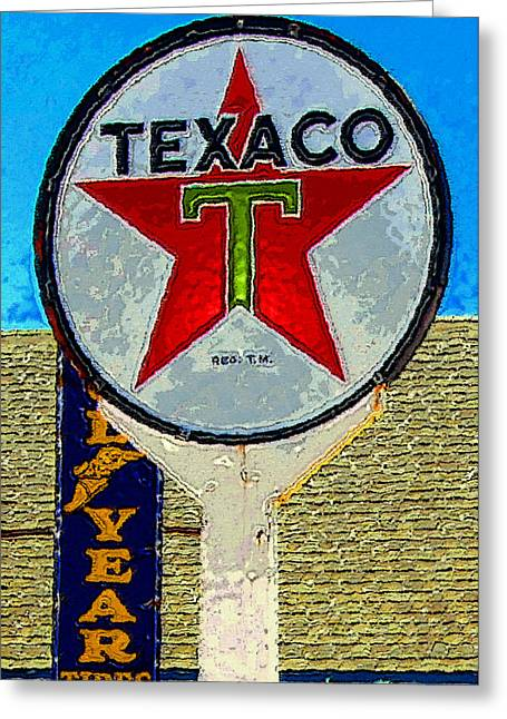 Texaco Sign Greeting Cards - The Big Red Star Greeting Card by David Lee Thompson