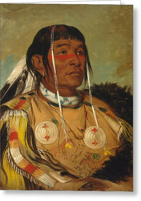 Sha Greeting Cards - Sha-co-pay. The Six. Chief of the Plains Ojibwa Greeting Card by George Catlin