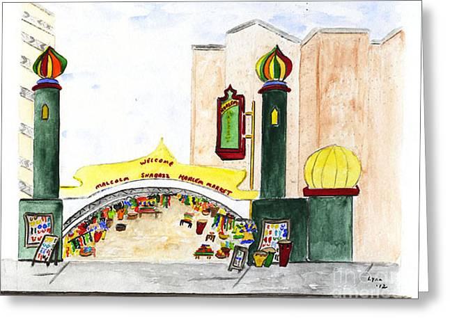 Shabazz Greeting Cards - Shabazz Market Harlem Greeting Card by Lynn Lieberman