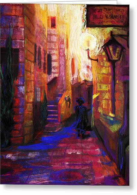 Violet Blue Greeting Cards - Shabbat Shalom Greeting Card by Talya Johnson