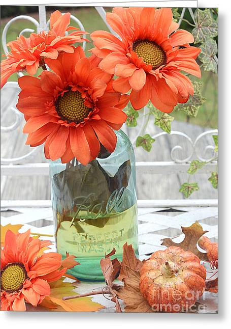 Shabby Chic Autumn Fall Orange Daisy Flowers In Mason Ball Jar - Autumn Fall Flowers Gerber Daisies Greeting Card by Kathy Fornal