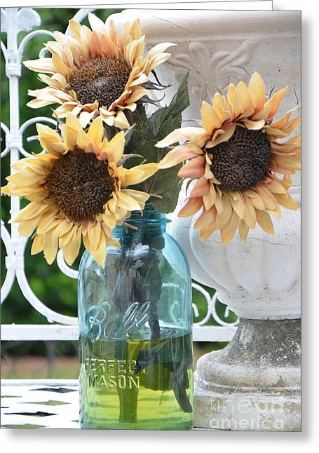 Yellow Sunflower Greeting Cards - Shabby Chic Autumn Fall Yellow Sunflowers In Mason Ball Jar - Vintage Flowers Mason Jar  Greeting Card by Kathy Fornal