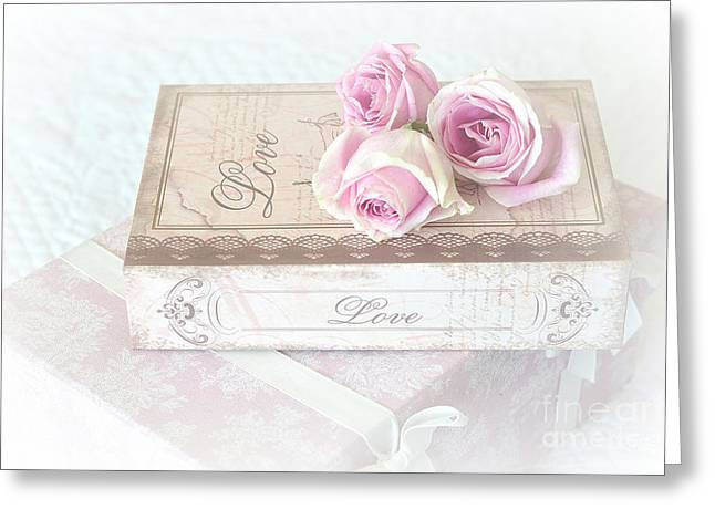 Shabby Chic Cottage Chic Dreamy Pastel Pink Cottage Roses With Romantic Love Pink Books Greeting Card by Kathy Fornal