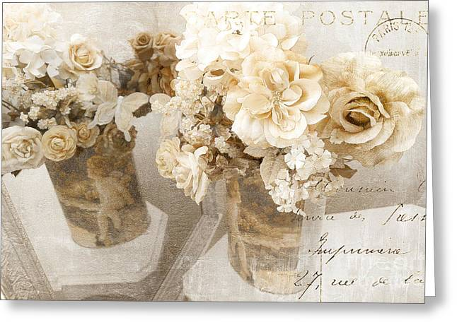 Beige Abstract Greeting Cards - Shabby Chic Cottage Chic Vintage Impressionistic White Roses With French Script Greeting Card by Kathy Fornal