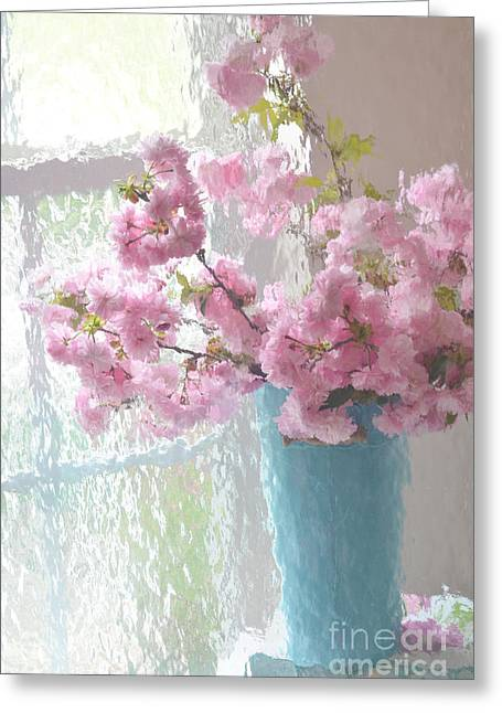 Cottages Photographs Greeting Cards - Shabby Chic Cottage Pink Blossoms - Impressionistic Shabby Chic Dreamy Pink Blossoms Floral Fine Art Greeting Card by Kathy Fornal