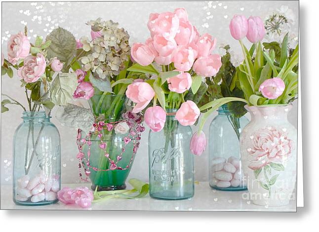 Shabby Chic Cottage Pink Blossoms Tulips And Aqua Blue Ball Jars And Hearts Greeting Card by Kathy Fornal