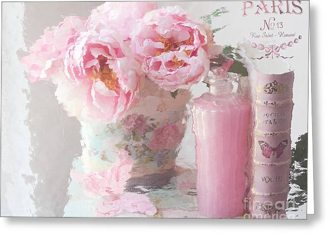 Dreamy Pink Fantasy Art Greeting Cards - Shabby Chic Cottage Pink Parisian Peonies - Romantic French Impressionistic Pink Peonies Greeting Card by Kathy Fornal