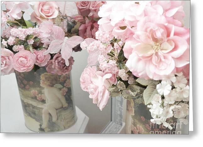 Photographs Of Flowers Greeting Cards - Shabby Chic Dreamy Cottage Chic Impressiontic Romantic Rose Floral Art Greeting Card by Kathy Fornal